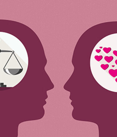 MAN WOMAN different scales heart. Representing mindset.