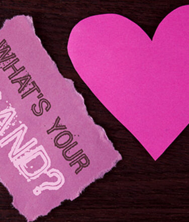 Handwriting text writing What is Your Brand Question. Concept meaning asking about your company manufacturer or model written Tear Sticky Note Paper Piece wooden background Heart next to it.